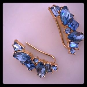 Kate Spade Blue Crystal Crawler Earrings